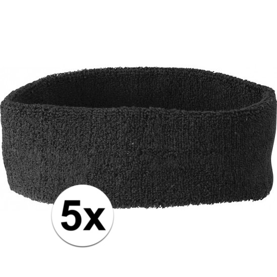 5x hoofd zweetbandje zwart