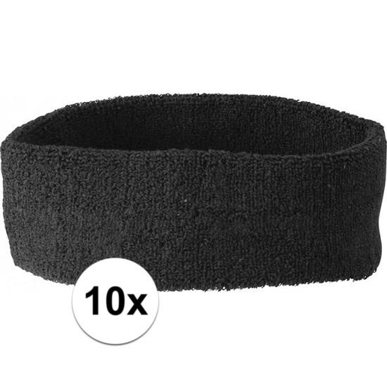 10x hoofd zweetbandje zwart