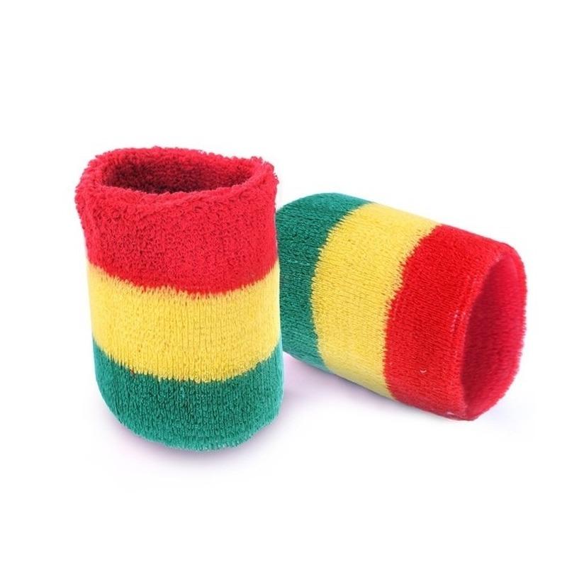 Pols zweetbandjes carnaval rood geel groen 2 stuks