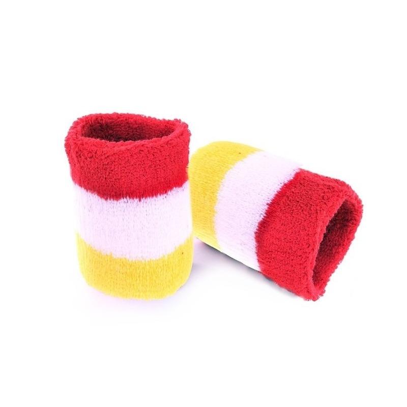 Pols zweetbandjes carnaval rood geel wit 2 stuks