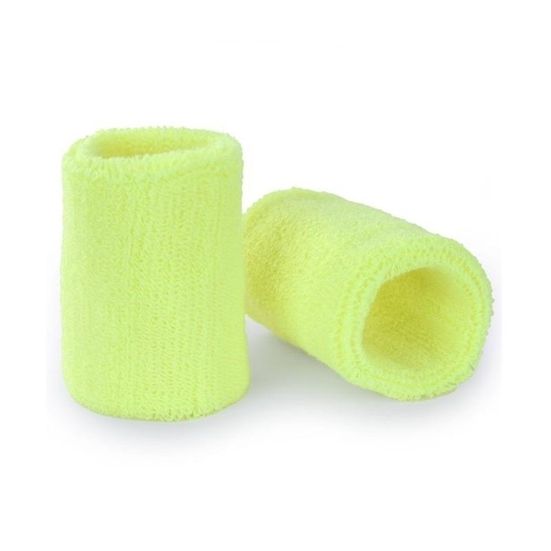 Pols zweetbandjes neon geel voor volwassenen 2 stuks