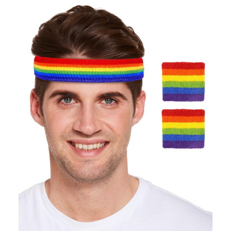 Regenboog pride kleuren hoofd en pols zweetbandjes set