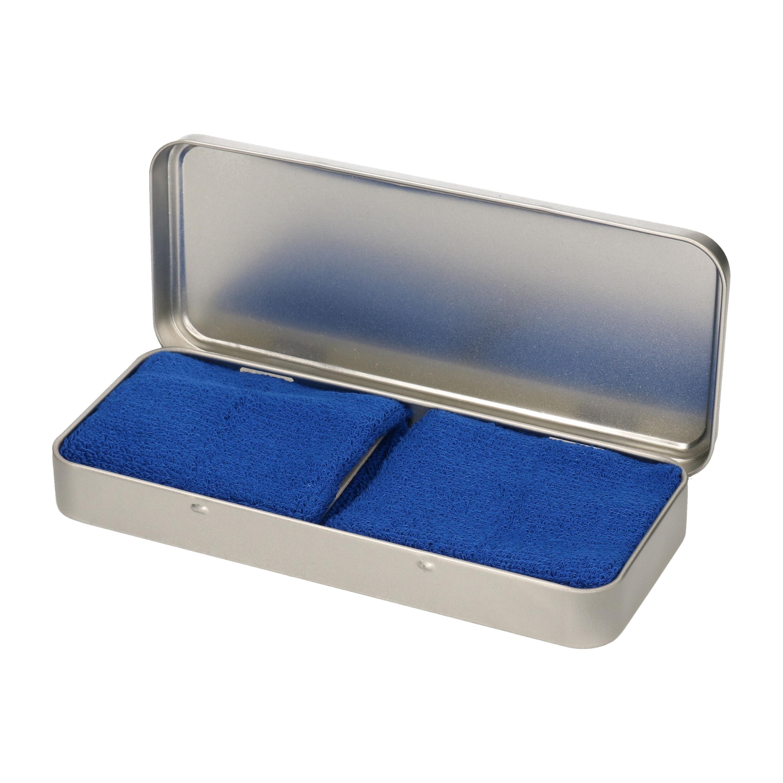 2x stuks blauwe sport zweetbandjes in metalen opslag bewaar doosje 10258514