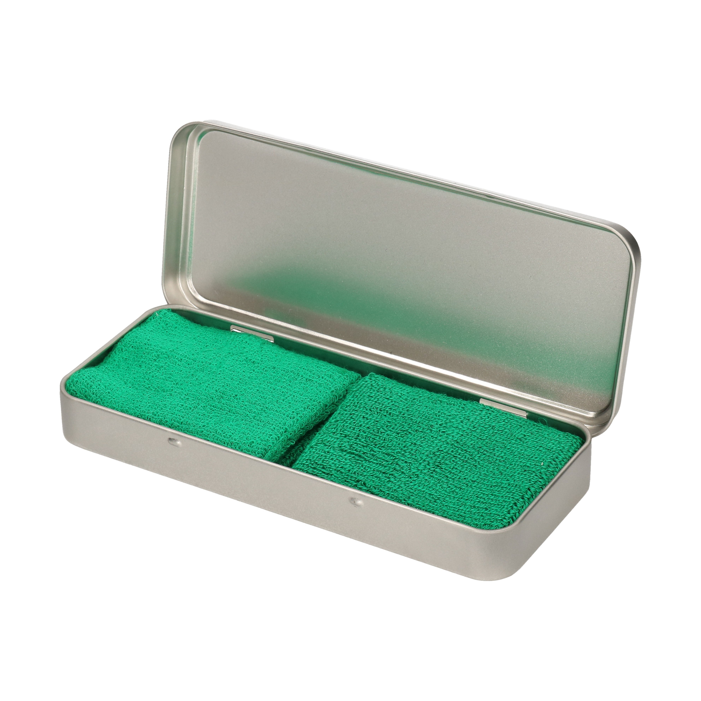 2x stuks groene sport zweetbandjes in metalen opslag bewaar doosje