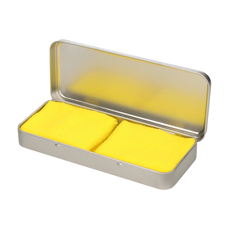 2x stuks neon gele sport zweetbandjes in metalen opslag bewaar doosje