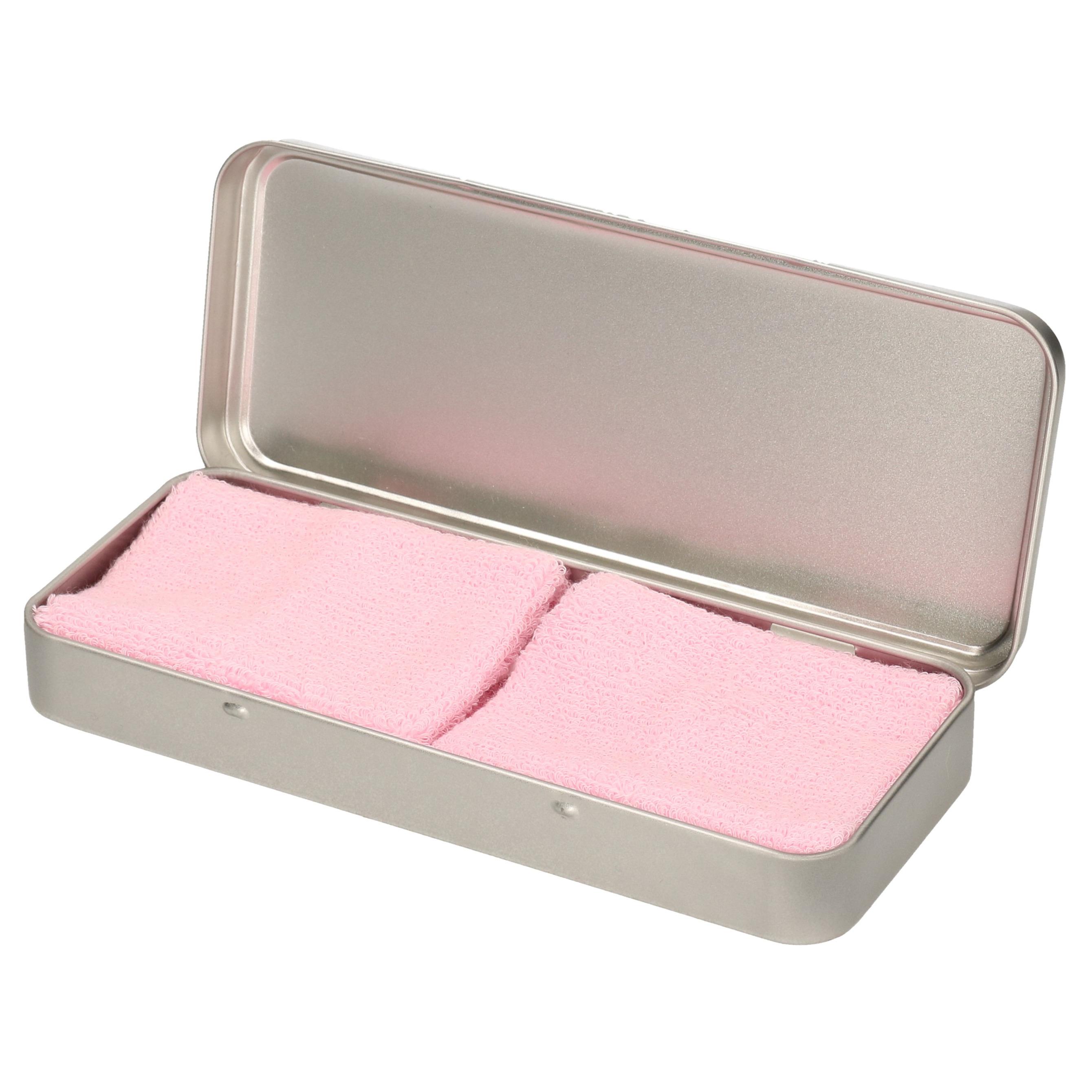 2x stuks roze sport zweetbandjes in metalen opslag bewaar doosje