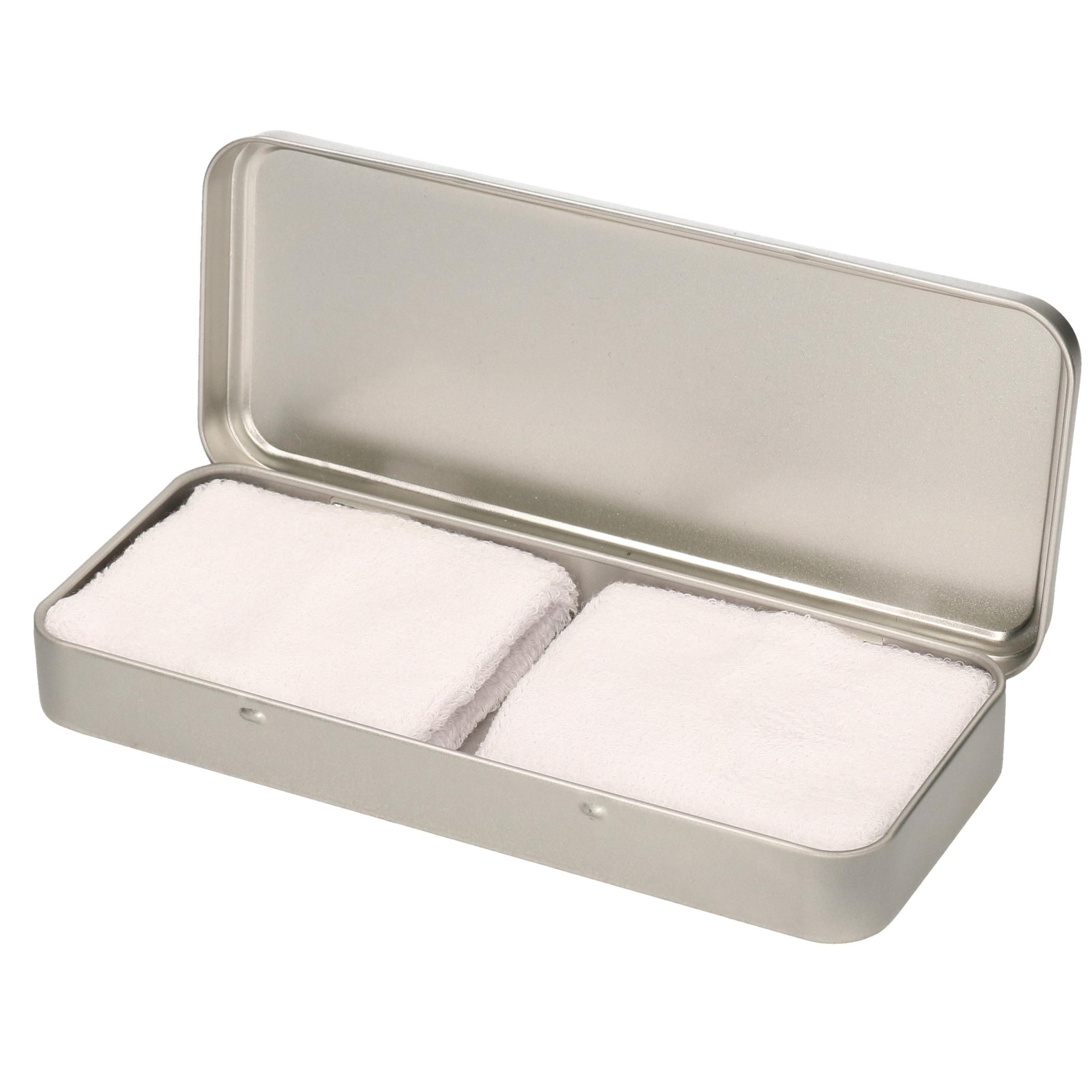 2x stuks witte sport zweetbandjes in metalen opslag bewaar doosje