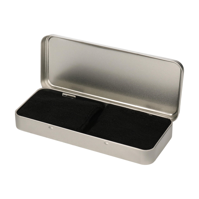 2x stuks zwarte sport zweetbandjes in metalen opslag bewaar doosje 10258513