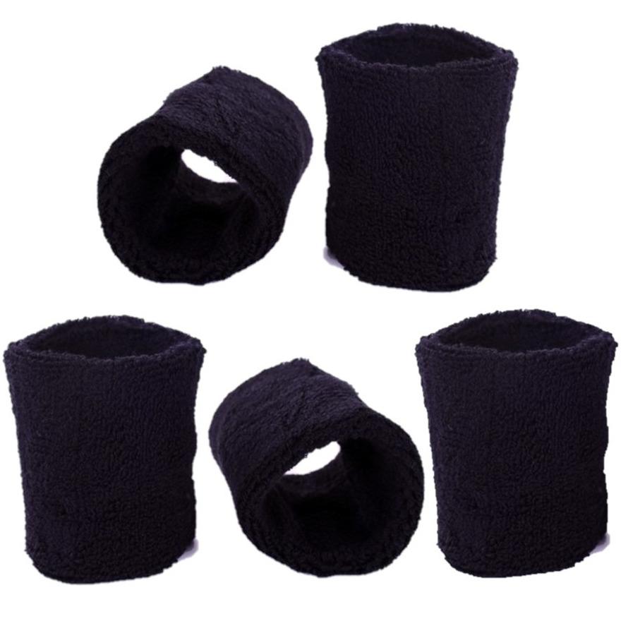 Pols zweetbandjes zwart voor volwassenen 10x stuks