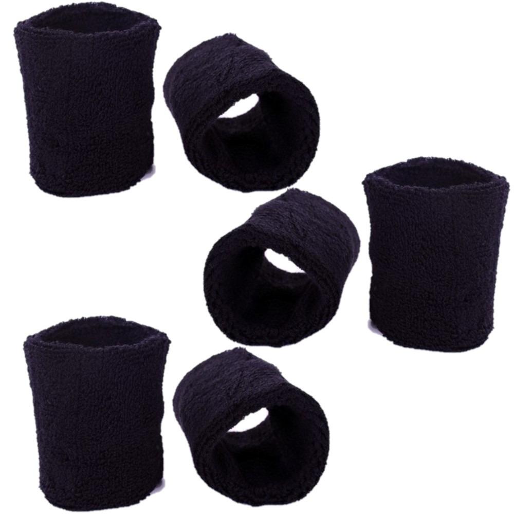 Pols zweetbandjes zwart voor volwassenen 6x stuks