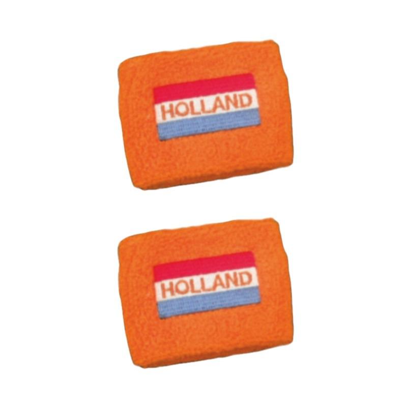 Set van 4x stuks oranje pols zweetbandjes vlag holland geborduurd